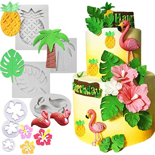 7 PCS JeVenis Tropical Cake Decoration Flamingo Fondant Mold Hawaiian Baby Shower Cake Mold