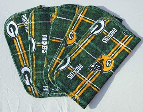 Packers Printed Plaid Flannel Paperless Towels 1 Ply 8x8 Inches Set of 5