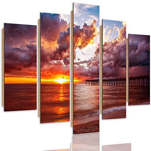 Wandbild Sonnenuntergang 200x100 cm Deco Panel 5 Teilig XXL Kunstdruck See rot