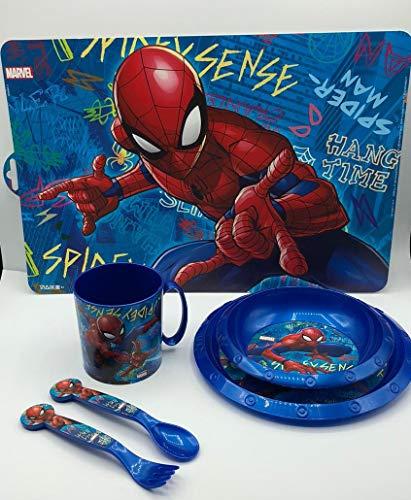 CM Set de Vajilla Infantil Spiderman para niño y niña. 6 Piezas: Plato, Taza, Cubiertos, Vaso y Mantel con diseño de Disney