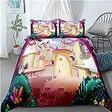 Un cuento de hadas de cama de la cubierta del Duvet floral 3D para niños niñas de belleza Impreso de cama cubierta del edredón con la cremallera Ligero microfibra Decoración,B,140x210cm