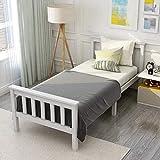 ModernLuxe Cama individual juvenil blanca 90 x 200 cm cama infantil de madera...