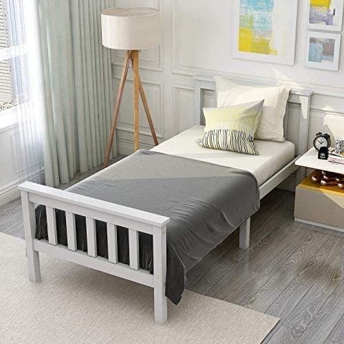 ModernLuxe Cama individual juvenil blanca 90 x 200 cm cama infantil de madera con somier y cabecero, cama individual de pino macizo cama de invitados