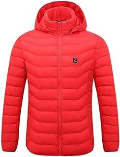 Labyrinen - chamarra de plumón ultraligera con calefacción por USB, con capucha, calentador eléctrico para deportes al aire última intervensión, escalada, senderismo, snowboard, esquí, pesca, color negro, rojo