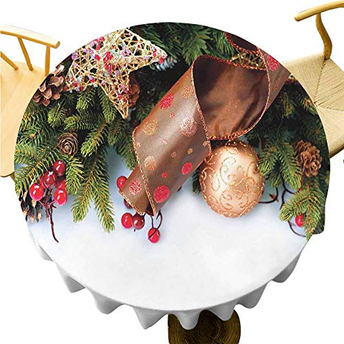 Christmas Tablecloth - 70 Inch Round Tablecloth Christmas Enjoy Dining Pine Cones with Garland Tree Topper Star Mistletoe and Swirled Ornate Elements Multicolor