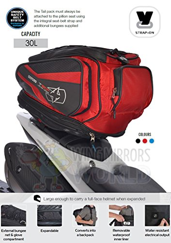 Wing Mirrors World Kawasaki VN900 Classic T30R 30L Pillion Seat Tailpack Bag Luggage Motorcycle Red