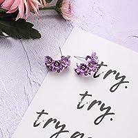 2020 ファッションシンプルな紫色の花花びらドロップイヤリング新鮮なイヤリングエレガントな女性の結婚式のパーティージュエリー