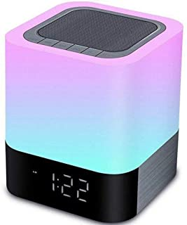 Aisuo Night Light - 5 in 1 Lamp with Bluetooth Speaker, 4000mAh Battery & 12/24H Digital Calendar Alarm Clock, Touch Control & Color Dimmable, Support TF and SD Card, Room Decor, Music Player.