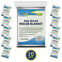 Primacare HB-10 Emergency Foil Mylar Thermal Blanket (Pack of 10), 52″...