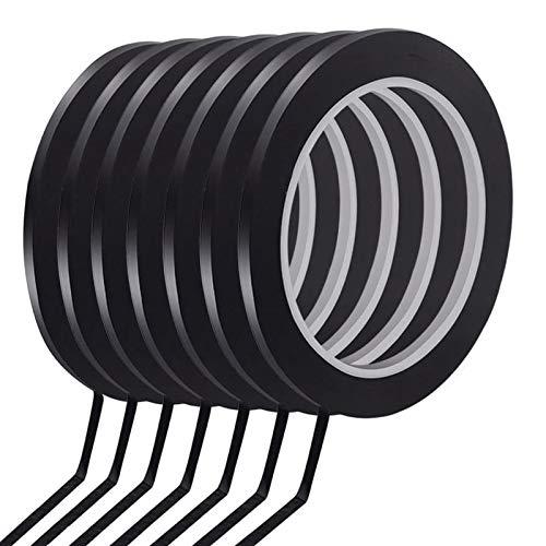 Kulannder Whiteboard Graphic Chart Tape, 16 Rollen trocken löschen Board Grid Markierungsband dünn schwarz Gridding Graphic Tape Selbstklebende Art Artist Tape - 3 mm Breite (glänzend schwarz)