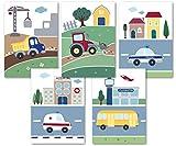 5er Set süße Fahrzeug Bilder - tolle Kinderzimmer Deko
