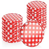COM-FOUR® 20x Tapas para tarros de cristal de mermelada - Tapas en rojo/blanco para tarros de dintel y tarros de cristal - TO 82 mm (0020 piezas - A 82 mm rojo/blanco a cuadros)