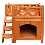 HOSKL Wood Cat House Outdoor - Pet Cat & Dog Wooden House Living House Kennel with Balcony,Fence of Roof,2 Layers Deluxe Pets Villa, Warm Hut, Living Shelter (A)