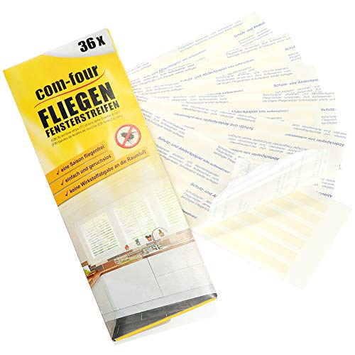 com-four® 36x transparente Fliegenstreifen, Fliegen-Köder Streifen für Fensterfalz, Fraßköder zur einfachen Anbringung - Fenster-Fliegenfalle - Aufkleber gegen Fliegen, Mücken (036 Stück - Streifen)
