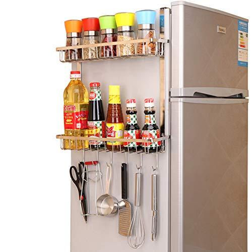 GHQME - Mensola da appendere per frigorifero, in acciaio inox, con 2 ripiani, da appendere, per cucina, frigorifero, organizer da cucina (argento, 2 ripiani)