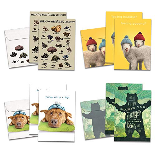 Tree-Free Greetings Funny Feel Better Soon Get Well Card Assortment, 5 x 7 Inches, 8 Cards and Envelopes per Set (GA31530)