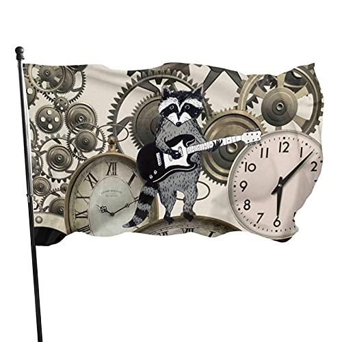 Relojes Steampunk vintage Bandera de jardín para interiores y exteriores Bandera de 3 x 5 pies, banderas de playa duraderas y resistentes a la decoloración con encabezado, fácil de usar