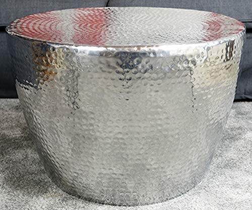 MichaelNoll - Tavolino da salotto in metallo, con finitura martellata orientale in alluminio, rotondo, colore argento, 58 cm