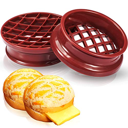 2 Pieces Pineapple Bun Molds Pineapple Bread Cake Stamp Lattice Press Mold Plastic Bread Cake Mould for Dough Press Kitchen Pastry DIY Baking