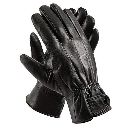 SANKUU Mens Winter Black Gloves Leather Touchscreen Snap Closure Cycling Glove Outdoor Riding Warm Waterproof Gloves