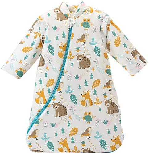 Missfly Baby Schlafsack mit abnehmbaren Ärmeln Winter Angedickte (M/Körpergröße 85-100cm, Tierwelt)