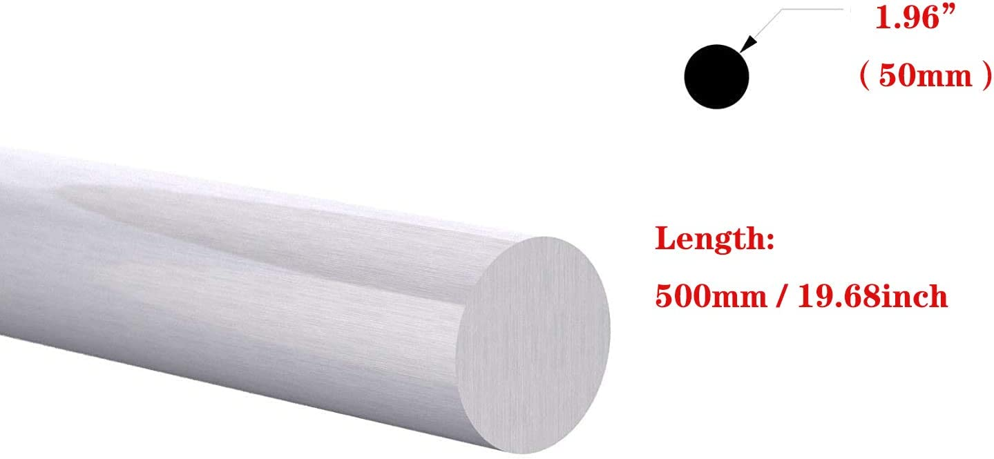 Hanwu 19.68 500mm Long 6061 Aluminum Round Bar Lathe Rod Stock Solid BAR Mill Finish,1.02 26mm Inch Diameter