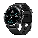 Tinwoo Smart Watch for Android/iOS Phones, Health Tracker with Heart Rate Monitor, Bluetooth Sports Monitor Tracker, Digital Smartwatches for Women Men, 5ATM Waterproof (PU Band Black)