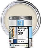 Pintura Para Madera Exterior | Color Amarillo | 1 Litro | RAL 1013 | Pintura Para Madera | Pintura Ecológica Para Todo Tipo De Madera | Pintura Madera Exterior Con Un Aspecto De Acabado Semi Mate