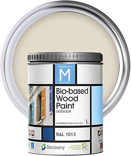 Pintura para Madera | Bio|based Wood Paint RAL 1013 | 1 L | Pintura Ecológica para Todo Tipo de Madera | Pintura Madera Exterior Semi Mate | Color Amarillo