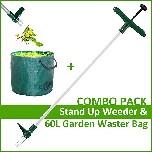 Walensee Stand Up Weeder and Weed Remover Tool, Stand up Manual Weeder Hand Tool with 3 Claws, Stainless Steel and High Strength Foot Pedal, Weed Puller (Combo Pack - Stand Up Weeder&Garden Waste Bag)