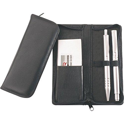 Alassio 2603 - Schreibgeräteetui aus echtem Leder, Etui in schwarz, Stiftetui ca. 15 x 6,5 x 2 cm, Lederetui für 3 Stifte