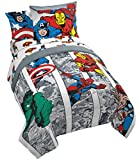 Jay Franco Marvel Avengers Comic Cool 5 Piece Twin Bed Set - Includes Comforter & Sheet Set - Bedding Features Captain America, Spiderman, Iron Man, Hulk, Thor - Super Soft (Official Marvel Product)