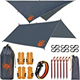 Rain Fly EVOLUTION 12 x 10 ft Camping Hammock RAIN Fly Waterproof Tent TARP & Survival Bracelet – Lightweight – Backpacker Approved – Diamond Ripstop – Perfect Hammock Shelter – Gray