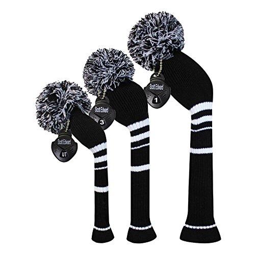 Scott - Golf-Schlägerkopfhüllen für Holz in Black White Stripes, Größe Driver/Fairway/Hybrid
