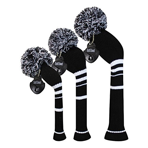 Scott Edward Streifen Stil Strick Golf Club Head Covers Set Of 3, Fit für Driver Holz (460cc), Fairway Holz, Hybrid (UT),Black White Stripes