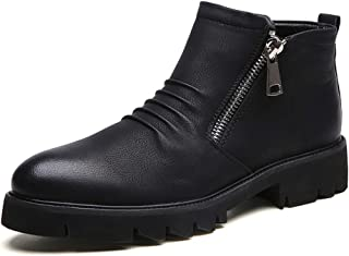 2019 New Arrival Men Boots Fashion Ankle Boots for Man Chunky Heel Microfiber Upper Side Zipper Decoration Pointed Toe Durable Fashionable