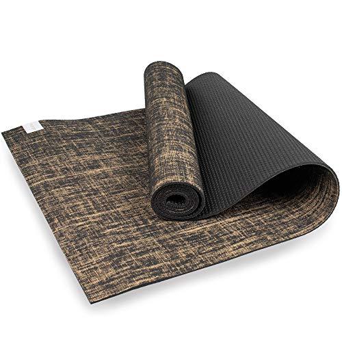 Myga RY1241 - Esterilla de yoga de yute para suelo vegano de alto rendimiento, alfombrilla de yoga ecológica biodegradable con respaldo de PVC, 5 mm de grosor, color negro