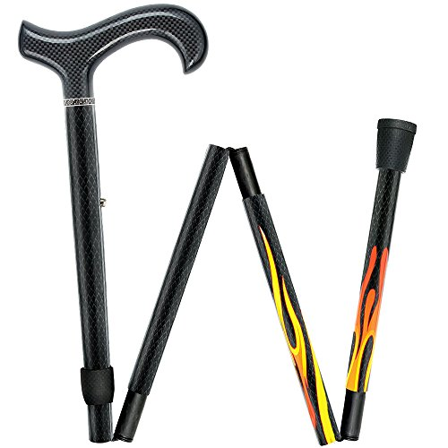 House Flame Derby Walking Cane with Folding, Adjustable Carbon Fiber Shaft