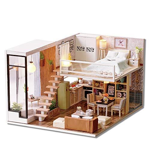 Casa de Juguete en Miniatura Casa de muñecas en Miniatura Modelo de Kits con LED y Muebles Kits de construcción de Casas de artesanía Regalos de cumpleaños de Navidad Juguete de construcción Modelo