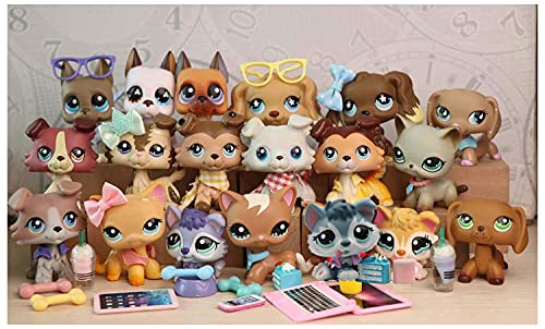 N/A USA LPS Collie LPS Great Dane LPS Husky LPS Cocker Spaniel Dog Puppy LPS Shorthair Cat Kitty Figure with Accessories Lot Figure Collection Kids Birthday Xmas Gift 19 PC