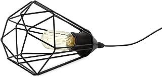 EGLO Lampe de table TARBES, lampe à poser vintage à flamme au look rétro, lampe de chevet en acier et en tissu, couleur : ...