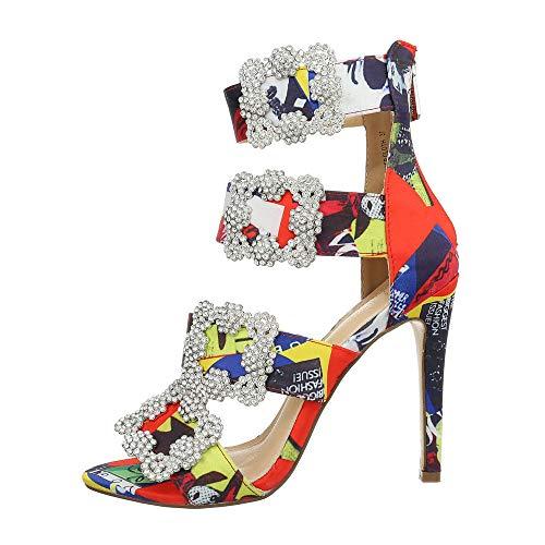 Ital-Design Damenschuhe Sandalen & Sandaletten High Heel Sandaletten Canvas Rot Multi Gr. 38