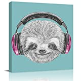 Canvas Wall Art The Sloth Listening to Music Oil Painting,Framed Modern Giclee Wall Artwork Minimalist Wall Pictures for Home Decor Office Ready to Hang,20x20in