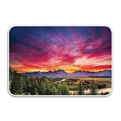 Traci Kroll Skyline colorato con Nuvole nella Foresta Lago Lago Paesaggio Montano Parco Zattera zerbino Antiscivolo Bagno Interno Coperta Cucina Arredamento Tappeto
