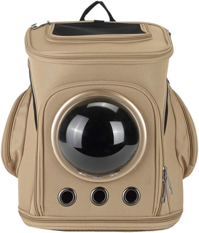 Pet Travel Carrier Large Pet Backpack Breathable Foldable Capsule Astronaut Bubble Pet Cat Dog Carrier Waterproof Travel Portable Premium Backpack (41cmX33cm) Walking Travelling (color   Brown)