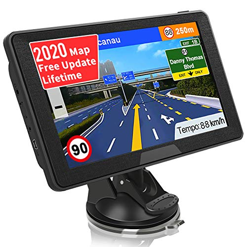 SAT NAV GPS Navigation System, Jimwey 7 inch 2020 Map Satellite Navigator Device for Car Truck Lorry, UK/EU Maps Lifetime Free Update, with Post Code POI Search Speed Camera Alerts