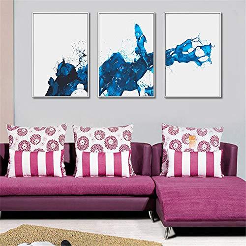 WSNDG Drievoudige Chinese inkt schilderij woonkamer muurdecoratie schilderij hotel verticale schilderij moderne minimalistische slaapkamer abstracte muurschildering zonder fotolijst 50x60cmx3 A3