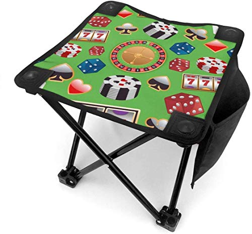 Camping Hocker Colorful Casino Small Camping Stool Fishing Travel Outdoor Folding Stool Portable Oxford Cloth Slacker Stool with Side Pocket for Camping Walking Hunting Hiking Picnic Garden BBQ