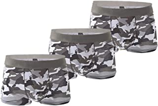 Aiweijia Mens Camo Printed Underwears Cotton Breathable Boxer Briefs for Male (Three Pieces)