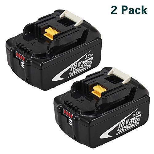 BL1860B 5.5Ah Ersatz für Makita 18V Batterie Lithium BL1860 BL1850B BL1850 BL1840 BL1830 LXT400 mit LED-Anzeige Schnurloses Elektrowerkzeug 2 Stück